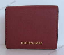 $88 Michael Kors Jet Set Travel Carryall Card Case Wallet Saffiano Brick Red