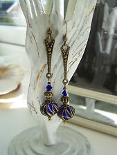 VINTAGE STYLE DANGLE DROP EARRINGS STEAMPUNK Deco Cobalt Swarovski Elements