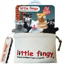Cat Hand Knitted Finger Puppets With Canvas Storage Bag