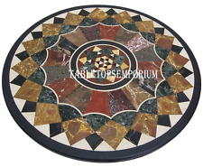 "30"" Black Marble Coffee Table Top Stone Marquetry Inlay Gems Semi Precious Art"