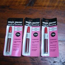 Lot 3 NEW Vintage MAGIC MARKER Large RED Ink Waterproof Permanent Ink PEN USA
