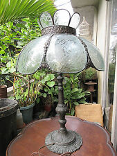 "27"" Antique 8 Panel Acid Etched Glass & Brass Victorian Electric Table Lamp Fine"