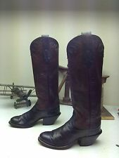 VINTAGE MADE IN USA BLACK BURGUNDY OLATHE LEATHER WESTERN COWBOY BOOTS 5.5 M