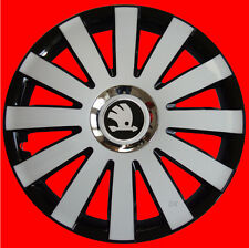 "4 x15"" Wheel trims fit Skoda Roomster Rapid Octavia  Fabia  - 15' 'black/white"