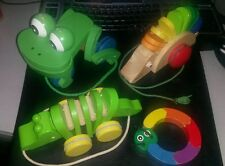 LOT OF 4 MONTESSORI TYPE WOODEN TOYS MELISSA DOUG FRESH START PULL FROG WORM