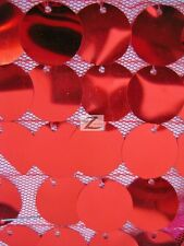 """STRETCH BIG DOT SEQUINS MESH FABRIC - Red - 54""""/60"""" WIDTH SOLD BY THE YARD"""