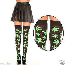 Black Green Pot Leaf Marijuana Plant Thigh High Hi Stockings Socks Hippie Stoner