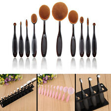 10Pcs Oval Cosmetic Toothbrush Shaped Makeup Foundation Brushes w/Brush Holder