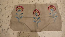 "Antique PILLOW COVER Mission Floral Satin Stitch Embroidered Floral, 13""x22"""