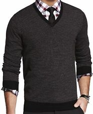 New EXPRESS Men's Merino Wool Black Striped V-Neck Sweater, nwt, size L, $80