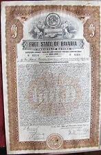"""German """"Free State of Bavaria""""  Gold bond issued in 1925 for $1000 Germany"""