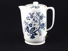 Vintage Japanese Ceramic Electric Coil Hot Water Pot Blue & White Floral Design