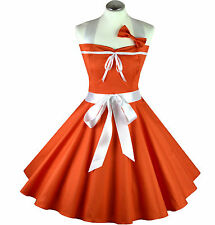 50er Rockabilly Vestito Sottoveste PIN UP PARTY COTONE guige ARANCIONE