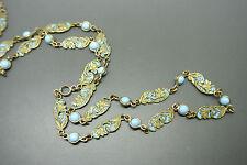 Vintage Victorian art deco lotus turquoise enamel Plique-a-jour glasses necklace