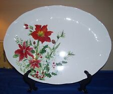 "NWT Lenox WINTER MEADOW 16 "" Oval Serving Platter Holly Poinsettia Amaryllis"