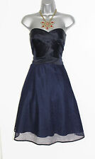 Monsoon Navy TULLE & Seta A Pieghe Senza Spalline Corsetto Abito Da Party UK 12 EU 40
