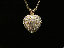 """Necklace Clear Rhinestone Heart Pendant Gold Tone By Roman & 18"""" Gold Tone Chain"""