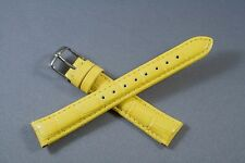 16mm Yellow 100% Genuine Leather Watch Band,Strap, Interchangeable,Quick Release