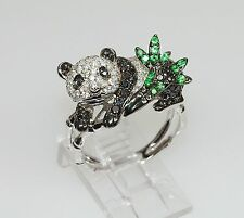 18k WHITE GOLD TSAVORITE GREEN GARNET DIAMOND ANIMAL PANDA BEAR ASIAN RING