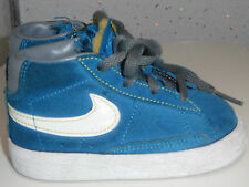 TODDLER BOYS NIKE BLAZERS TRAINERS SIZE UK 5 EUR 21.5 TEAL BLUE LACES SUEDE VGC