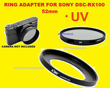 ADAPTER RING+UV FILTER To CAMERA SONY DCR-RX100 RX100MII RX100MIII RX100M4 52mm