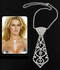 New! Sexy Crystal Diamante Rhinestone Choker Tie Dancer Necklace Jewelry 654