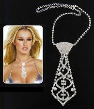 New! Sexy Crystal Diamante Rhinestone Choker Tie Dancer Necklace Jewelry 654