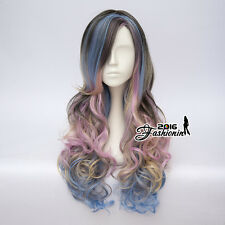 65CM Multi-Color Long Curly Lolita Party Fashion Synthetic Cosplay Wig+Wig Cap