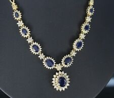 $12,500 BH EFFY Royalty 18K Yellow Gold Oval Blue Sapphire Diamond 16'' Necklace