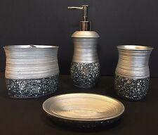 Mosaic Mirror Glass Bathroom Accessory Set Silver Lotion Pump Holder Soap Dish