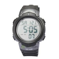 Titanium Waterproof Men Boy LCD Digital Stopwatch Date Rubber Sport Wrist Watch