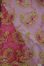 Paisley Coco fuchsia embroidery Sequins Sheer Polyester dress apparel fabric 54""