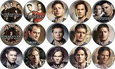 """Supernatural (TV Series) Set of 15 Different 1 1/4"""" Buttons/Pins - Sam & Dean"""