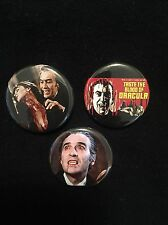 Christopher Lee Pinback Button Set Dracula Vampire Horror