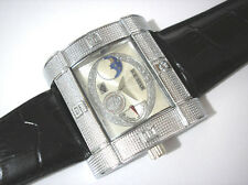 Ice Star Hip Hop Big Case Leather Band Men's Watch Item 3156