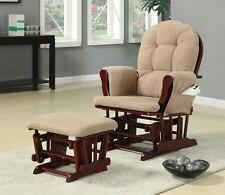 Cherry Finish and  Beige Microfiber Rocker Glider with Ottoman by Coaster 650010