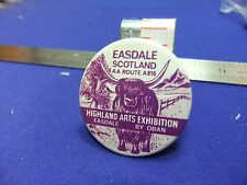 vtg tin badge highland arts exhibition scotland 1970s aa route a816 craft fair