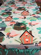 FLEECE KNOTTED BLANKET -Winter Bird House Blanket/Throw
