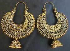Vintage Antique Gold Plated Chand Bali Half Circle Indian Earrings Jhumka Set//