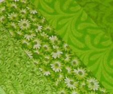 "Quilting Fabric Honey Bun Roll 20~1.5""Fabric Strips Lime Green Bright Cotton"
