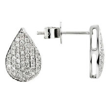 SOLID 14K WHITE GOLD PAVE NATURAL DIAMOND TEARDROP TEAR STUD STUDS EARRINGS