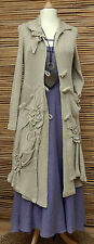 *ZUZA BART*DESIGN EXCLUSIVE BEAUTIFUL APPLIQUE LINEN CARDIGAN/COAT*BEIGE*Sz M-L