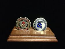 DOUBLE OR TRIPLE CHALLENGE COIN HOLDER SOLID WOOD DISPLAY DESK STAND