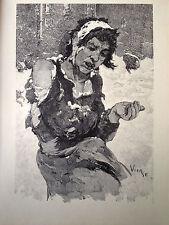 DANIEL VIERGE gravure sur bois woodcut la misere à Londres London