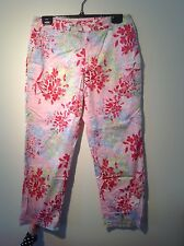 Greg Norman pink green multicolor floral cropped golf pants 8