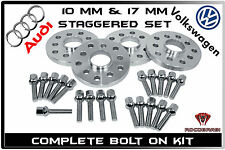 Audi A3 A4 A5 A6 VolksWagen Jetta GTI Staggered 10 MM & 17 MM Wheel Spacers