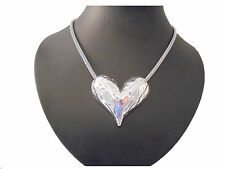 Stunning Chunky Unusual Silver Hammered Heart STaTmenT Necklace