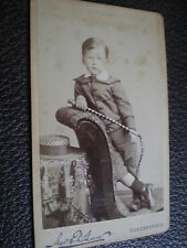 Cdv old photograph boy with whip by Shaw at Huddersfield c1880s