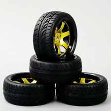 4Pcs RC Tyre&12mm Hex Wheel Rim D6NKG+PP0150 For HSP HPI 1:10 On-Road Racing Car