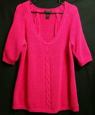 LANE BRYANT Women's 18 / 20 Hot Pink Crochet Cable Knit Short Sleeve Sweater